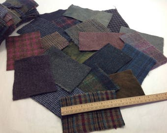 Scrappy Darks, Wool Pieces for Applique and Crafting, Dark Textures and Plaids, W350