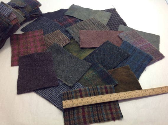 Scrappy Darks, Wool Pieces for Applique and Crafting, Dark Textures and Plaids, W350, LAST ONE!