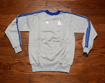 vintage 70s 80s sweatshirt unisex athletic sweatshirt heather gray blue three stripe Adidas style crew neck S/M warm up jumper NOS