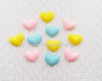 6pcs - Pastel Heart Macarons Flatback Decoden Cabochon (24x20mm) HSW012