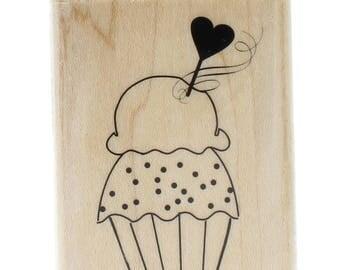 Birthday Cupcake Valentine Heart Pick  Wooden Rubber Stamp