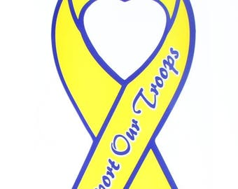 US Military Support our Troops Yellow Ribbon Mylar Decal Window Bike Customization Sticker
