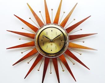 Mid century Starburst Clock by Welby, 21 inch diameter, Sunburst Atomic  Design MCM Wall