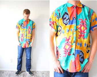 30% OFF SALE Retro vintage mens hipster shirt // neon aztec print // aztec top // tribal print // southwestern shirt // Medium/Large teal ra