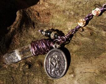 Hippie Boho Gift. Gypsy Traveler Gift. RV Decor. Car Mirror Dangly. Travel Protection. Cloisonne Chain. St Christopher. Quartz Crystal Charm