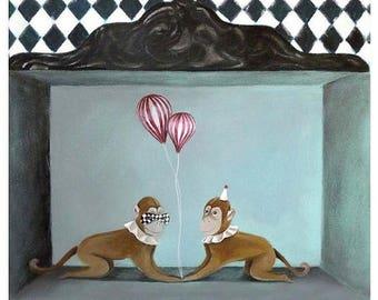 On Sale Monkeys art Monkeys print Monkeys decor Monkeys painting Monkeys art print Monkeys illustration circus Monkeys wall art Monkeys art