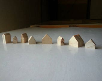 10 mixed sizes small natural wooden houses . pine wood houses . little houses . miniature houses . cottages . doll house decor . crafting