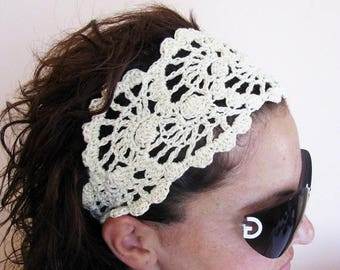 15% ON SALE Summer Head Band - Crochet Headband-   Hair Fashion Accessories - handcrochet headband in Ivory Color