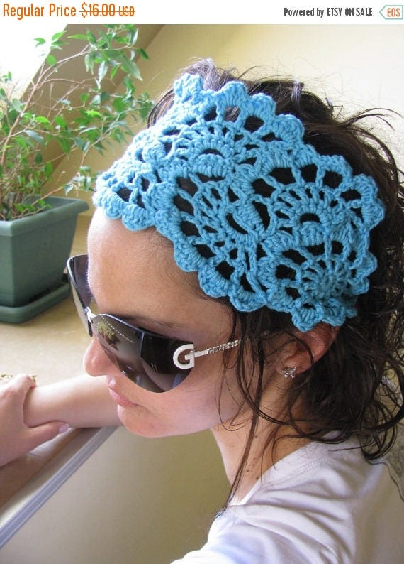 ON SALE 15 % SALE Crochet Lace Hairband- Summer Hair Fashion Accessories - Hand Crochet Hair Band - Crochet Lace Headband