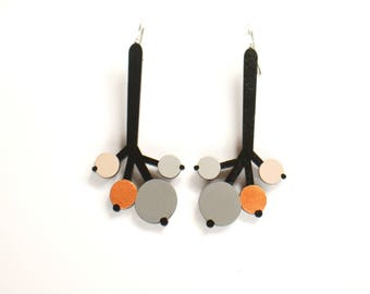 Black and Grey Long Plywood floral earrings