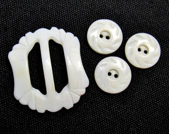"Vintage Luckyday: Carved Mother of Pearl Buckle and Buttons - Set of Three 3/4"" (19mm) New Buttons + One Buckle"