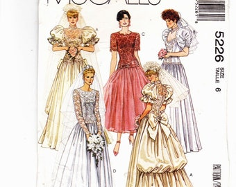 McCall's 5226 Size 6 UNCUT Misses Bridal Gown With Train and Bridesmaid Gown and Dress Alicyn Exclusives