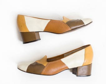 Vintage 1960s Shoes - Patchwork Leather Chunky Heels Mod Earth-tone Color Blocked - Sz 8