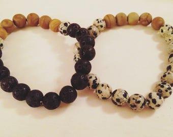 Mens, Womens, Unisex bracelet, gemstone, rock, black and white, neutral, gift for her, gift for him, energy, yoga, beaded bracelet