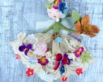 RESERVED F L O W E R  T O O T H  F A I R Y Beautifully handmade with treasured scraps of vintage and antique fine haberdashery and flowers