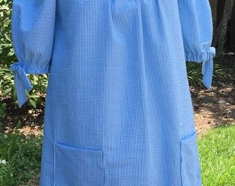 Maybelle, Plus Size Off-The-Shoulder Women's Seersucker Dress