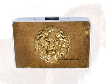RFID Metal Wallet Antique Gold Lion Head Inlaid in Hand Painted Gold Enamel Credit Card Case with Personalized and Color Options