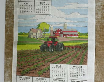 Vintage 1988 Calendar Tea Kitchen Towel With Tractor In Field And Farm  House - Made For Case International Harvester