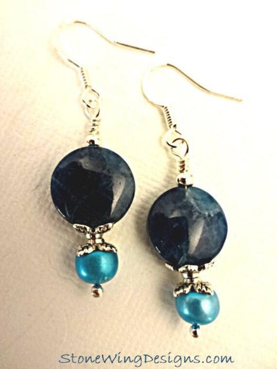 Dark Teal Apatite and Pearl Earrings