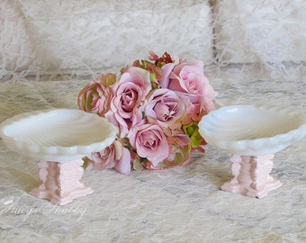 Charming Pair Vintage MILK GLASS Soap DISHES, Pink Bases, Shabby Chic, Bathroom Decor, Cottage
