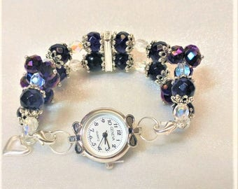 Unique Crystal Cut Glass Beaded Interchangeable Stretchy Watchband, Bracelets, Vintage Style, Watches, Handmade, Women, Gifts For Her