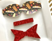 READY to SHIP Wool Felt 2.5 inch chunky bow  DIY taco tuesday with red glitter tail and center Set of 2