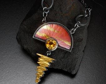 Keum Boo and Japanese Hido copper pendant necklace with citrine, oxidized silver pendant necklace, sunset art pendant