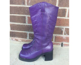 Rare vintage 90s PURPLE chunky COWBOY BOOTS 7 rockabilly grunge leather platforms club kid cyber rave womens shoes mia unique