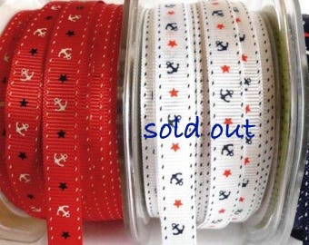 SALE, Nautical Ribbon, Grosgrain, Red Anchor Patriotic Ribbon, 3 Yards, 3/8 inch wide Narrow Grosgrain Ribbon,  Red and Blue Nautical Ribbon