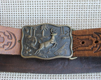 Vintage 1978 Brass BTS Deer Belt Buckle with Attached Leather Belt, Leather Belt with Cool Unique Design, FREE Domestic Shipping