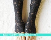 Summer Sale SALE Black lace gloves long mittens fingerless cuffs elastic gloves FREE SHIPPING