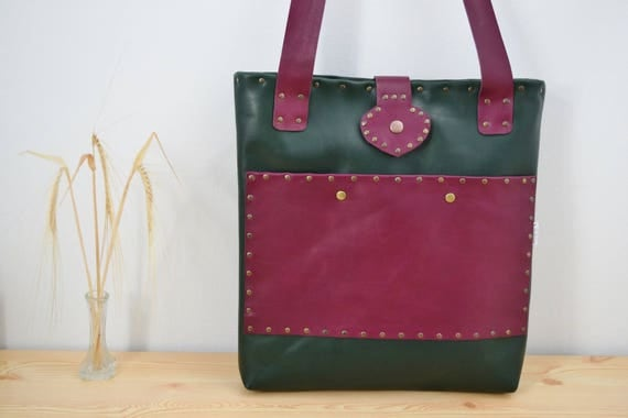 Leather tote,leather tote bag,green tote, dark red tote,leather purse bag,leather handbag,leather totes,large tote bag,large purse,shopping