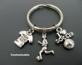 Soccer Keychain / Soccer Key Ring / Soccer Fan Keychain / Soccer Mom Keychain / Soccer Coach / Customizable Keychain / Personalized