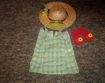 vintage american girl doll clothes pleasant co summer flip flops sunglasses dress hat