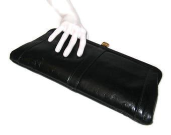 70s Black Purse, Black Clutch, Faux Black Leather, Faux Leather Clutch, 1970s Daytime Clutch, Vegan Friendly, Black Pocketbook, Black