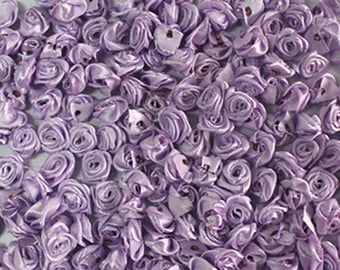Satin Ribbon Roses-Lavender-15mm-25 PCS