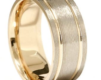 White and Yellow Gold, Men's Band, Brushed Man's ring 14K White & Yellow Gold Two Tone Mens Comfort Fit 8mm Wedding Band
