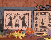 INSTANT DOWNLOAD Waxing Moon Designs Bewitched PDF counted cross stitch patterns holidays black hat spells magic witch