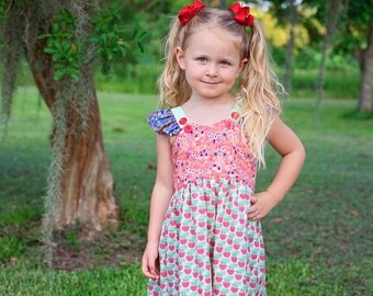 Strawberry Patch, Summer Girl Dress, Flutter, Toddler, Pink, Red, Gingham | 2t - 7 | Free Shipping
