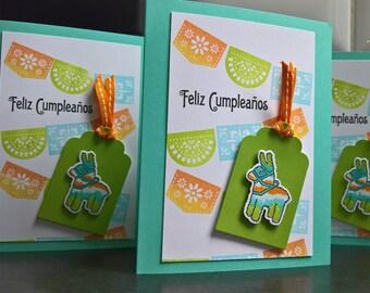 Feliz Cumpleanos Card, Spanish Birthday Card, Papel Picado Banner, Happy Birthday Card, Pinata Birthday Card, Felicidades, Mexican Card
