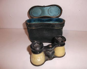 Antique French Theater Opera Glasses Travel Binoculars with Case Circa 1890s