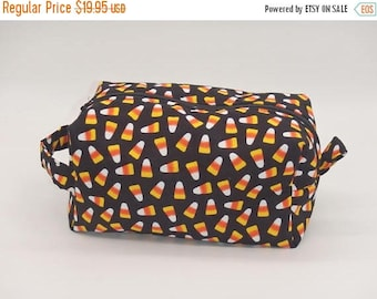 Christmasinjuly CIJ Sale Candy Corn Bag, Halloween Makeup Bag, Costume Makeup Pouch, Dopp Kit, Zip Pouch, Ditty Bag, Toiletry Kit, Halloween