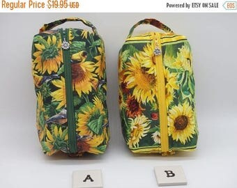 Christmasinjuly CIJ Sale Sunflower Pouch, Sunflower Ditty Bag, Toiletry Kit, Cosmetics Case, Makeup Bag, Travel Case, Gifts for Mom,