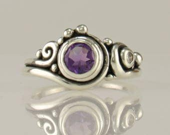 R1127-  SS Amethyst and Moissanite Ring- One of a Kind