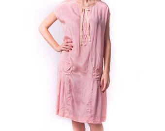 1920's Pink Silk Slip Dress/ 20's Flapper Dress
