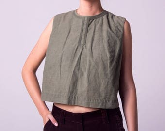 Olive Green Linen Shell/ 1950's Cropped Blouse/ 50s Soutache Tank Large