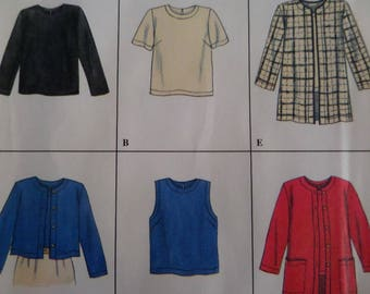 JACKET & SHELL TOP Pattern • Simplicity 7381 • Miss 12-16 • Pullover Top • Cropped Jacket  • Long Jacket • Modern Patterns • WhiletheCatNaps
