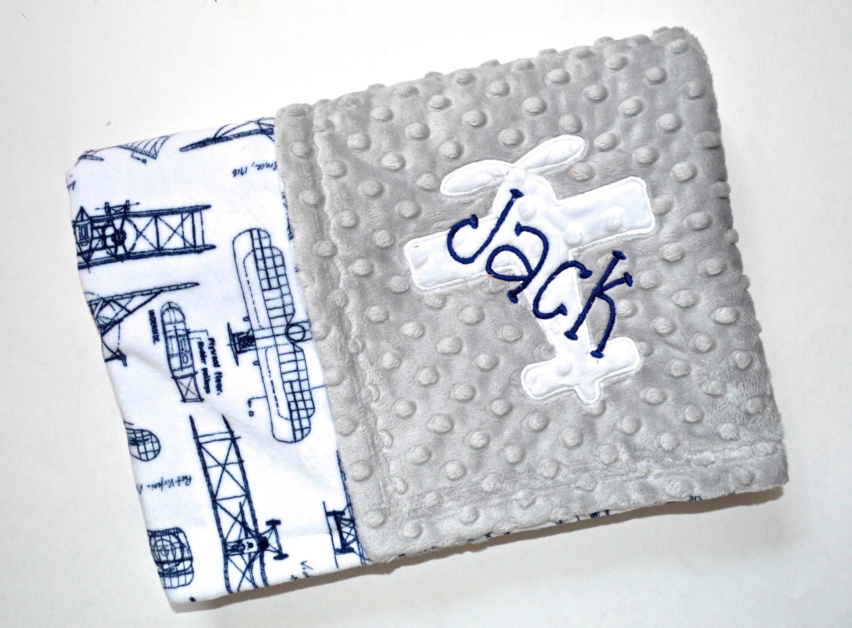 Monogrammed Baby Blanket Minky Airplane Baby Blanket Navy