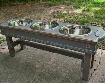 Antique Gray Distressed  Elevated Solid Wood  Dog Bowl Pet Feeder 3 Two Quart Stainless Bowls For Large Dogs- Made To Order