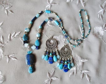 Lapis jewelry set, Lapis turquoise silver beaded pendant necklace chandelier earring set
